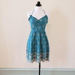 Dresses & Skirts - Teal Embroidered Floral Dress